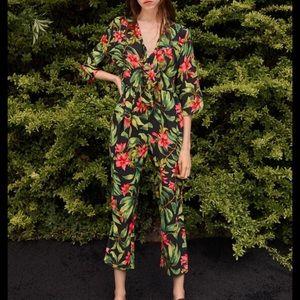 Zara Floral Leaf Printed Jumpsuit 2157/054